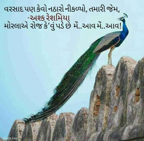 Gujarati Shayri status by Ashkk Reshmmiya on 10-Jul-2019 07:32:00am | Matrubharti